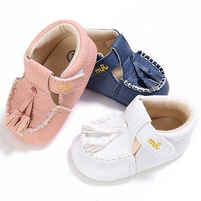0-18 M Baby Prewalkers Tassel Crib Shoes Kids Boys Girls Soft Sole Pram Shoes UK