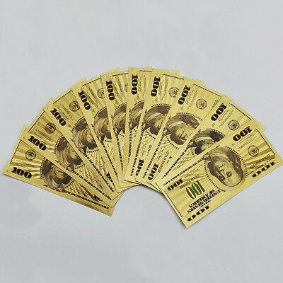 10PCS One Hundred Gold Dollar Bill $100 Gold Banknote Colorful USD 10*24KT100USD