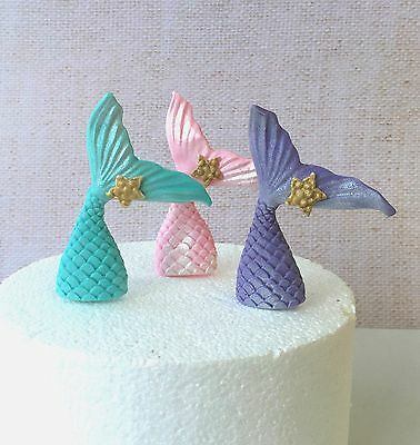6x Edible Mermaid Tail Fish Tail shimmer cake cupcake toppers Little Mermaid