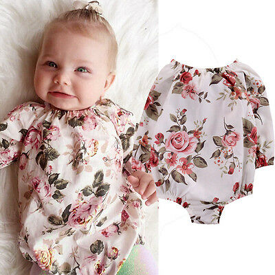 Baby Girls Floral Long Sleeve Bodysuit Romper Jumpsuit Outfit Sunsuit Clothes