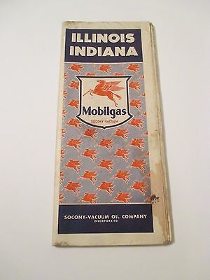 Vintage MOBILGAS ILLINOIS INDIANA SOCONY VACUUM Oil Gas Service Station Road Map