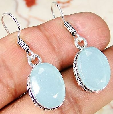 Chalcedony & 925 Sterling Silver Overlay jewelry Earrings 35mm R21-5325