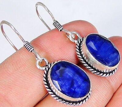 Sapphire & 925 Silver Handmade Elegant Earrings 37mm CE38-1286