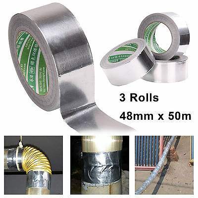 3 Rolls Aluminium Foil Tape Insulation Bright Silver Duct Joint Sealing 48MMx50M