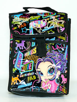Lisa Frank Sassy City Glamour Girl Poodles Insulated Black Lunch Bag Vinyl Tote