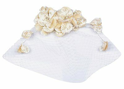 Womens Fashion Lace Sinamay Flower And Bead Wedding Fascinator With Veil