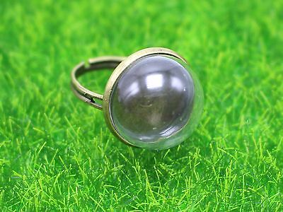 2 Bronze Adjustable Ring with 16mm Clear Glass Dome Terrarium 1/2 Globe Bottle
