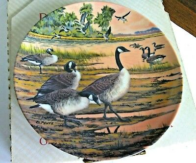 Vintage Decorative Plate Winter Home Canadian Geese Hard Fired China Home Decor