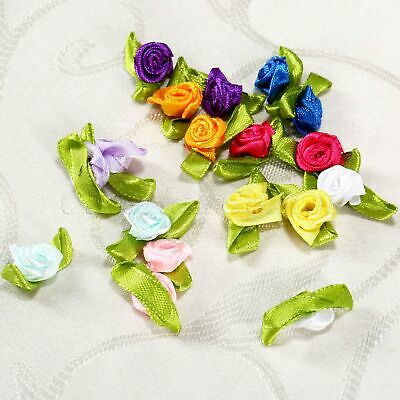 100 Assorted Colours Satin Ribbon Roses Flowers With Leaves Wedding Home Decor