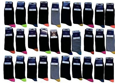 20 Pairs Men's Adults Black Cotton Socks With Mix Coloured Uk Size 6-11 Hpltf