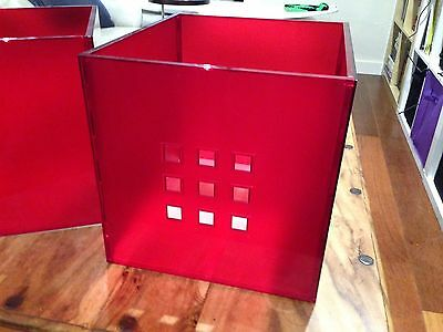 4 IKEA LEKMAN Red Plastic Perspex Storage Cubes For EXPEDIT & KALLAX Units