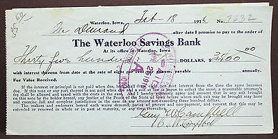 US Check The Waterloo Savings Bank Paid Documentary 50c 1916 USA Scheck (H-8294