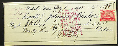 US Check Waterloo Leavitt & Johnson Bankers Paid Stamp 1898 USA Scheck (H-8297