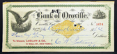 US Check Bank of Oroville Paid Internal Revenue Documentary USA Scheck (H-8286