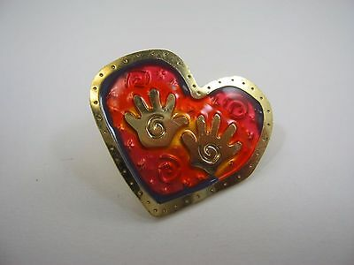 Vintage Collectible Pin: Beautiful Heart & Swirl Hands Design