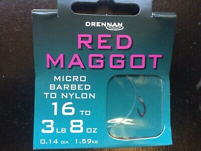 Drennan Micro Barbed Red Maggot Fishing Hooks To Nylon