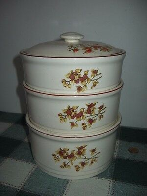 Vintage Universal Cambridge Bittersweet 4pc Stacking Casserole AS IS Lid