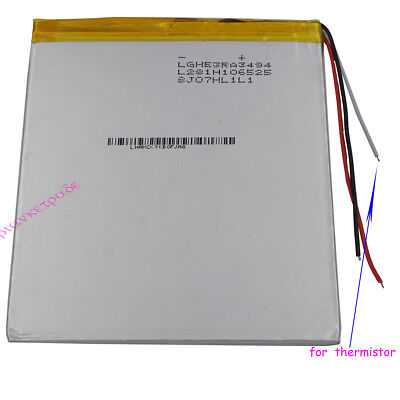 3.7V 4000mAh Polymer Li Battery 3 wires for thermistor For PAD Tablet PC 3494105