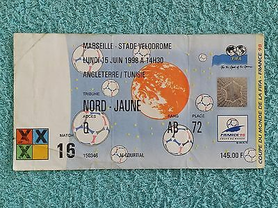 1998 - ORIGINAL WORLD CUP MATCH TICKET - ENGLAND v TUNISIA