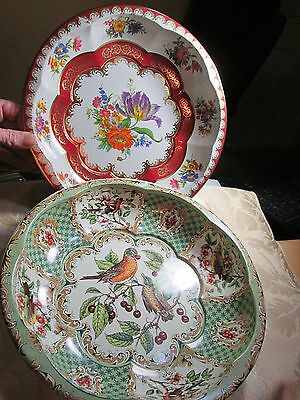 Daher Decorated Ware Flowers, Birds Cherries Metal Tin Bowl England 1971 Vintage