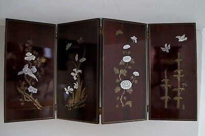 Vintage Asian Chinese 4 Panel Rosewood Byobu Table Screen Gold Silver Tone Inlay