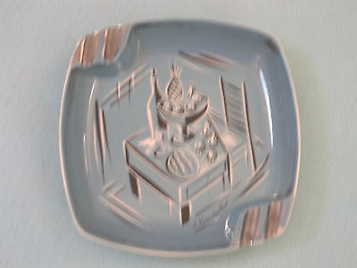 "Hand Painted Art Deco Style Vintage Blue Ceramic Ashtray - Artist ""J. Knowles"""