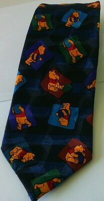 Men's Disney Blue Black Winnie The Pooh Necktie Themed Bear Novelty Present Tie