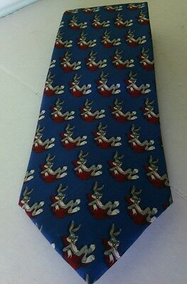 Tie Rack Men's Blue Silk Necktie Bugs Bunny Disney Looney Tunes Warner Slim Fit