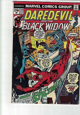 Marvel Comic Daredevil and the Black Widow 102 Aug 1973 20c  cents copy