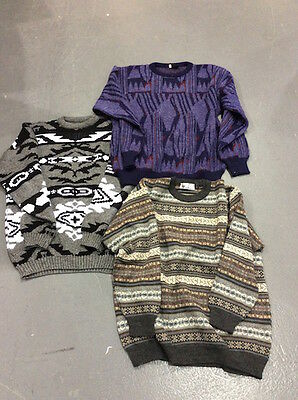 VINTAGE WHOLESALE JOBLOT Men's Grandad Cosby Style 80's Sweater Jumper Mix x 50