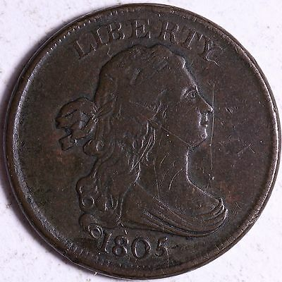 VF 1805 Draped Bust Half Cent R1TBT