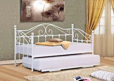 Lavish Vienna Single 3Ft Metal Day Bed Frame  White & Black With Crystal Finials