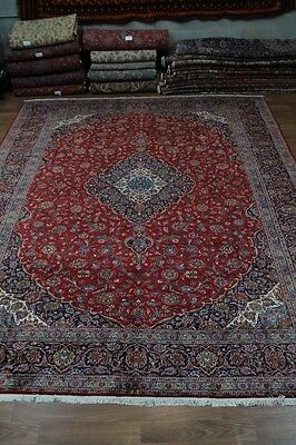 Traditional Oversized Handmade Antique Kashan Persian Oriental Rug Carpet 13X16