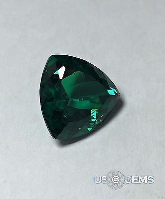 Emerald Dark #0/2. Trillion 10x10 mm. 3 Ct. Monosital Created Gemstone. US@GEMS