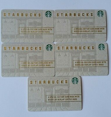 Lot 5 - 2016 Starbucks Special Edition Recycled Burlap Cards