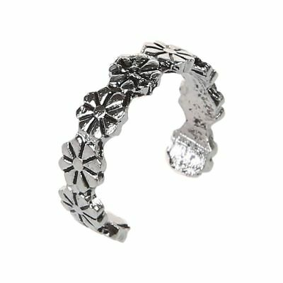 1pc Retro Flower Pattern Adjustable Toe Ring Foot Jewellery Antique Silver T7Y3