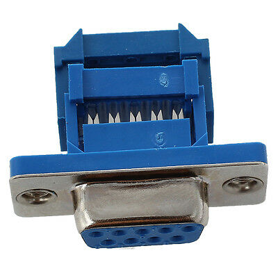 5 parts D-SUB 9-pin DB9 Female IDC crimp adapter plug for ribbon cable Blue W4E6