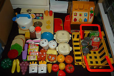 Huge 75pc+ Lot Vintage Fisher Price Shopping Fun With Food MTC McDs FP $$ +MORE