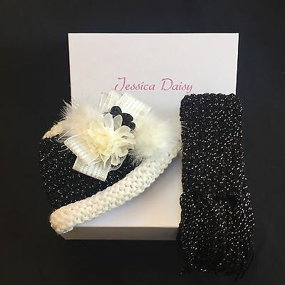 Girls Children's hat and scarf set, black and ivory with flower size 1-3 years