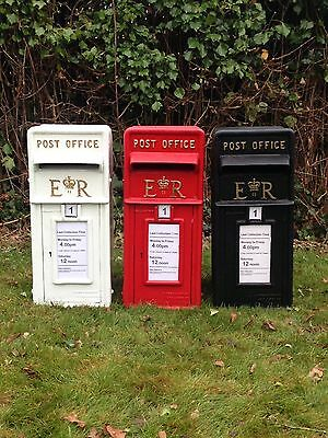 Royal Mail Replica ER Post Box White, Red and Black Post Office Pillar Letterbox