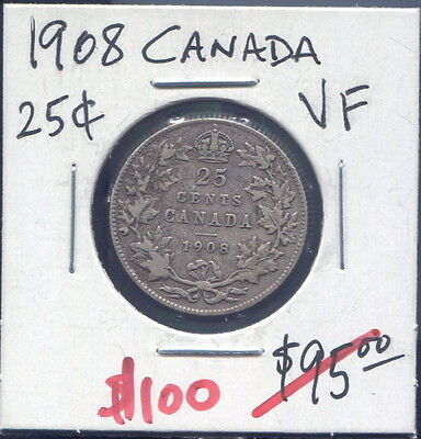 Canada - Beautiful Historical Edward Vii Silver 25 Cents, 1908 (Great Date)