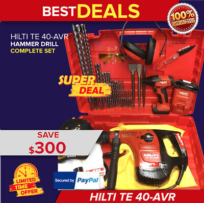 Hilti Te 40-Avr Hammer Drill, Preowned,free New Hilti Sid 2-A,extras, Quick Ship