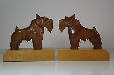 Art Deco Scottie Dogs Carved Wood Bookends French Sculpture GASPAR Great Quality