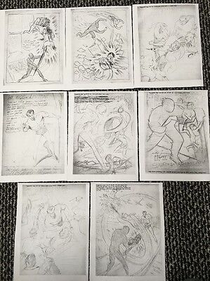 Sub-Mariner and Human Torch Concept Art Sketches 1941-1942 Lot Of 8 Sketches