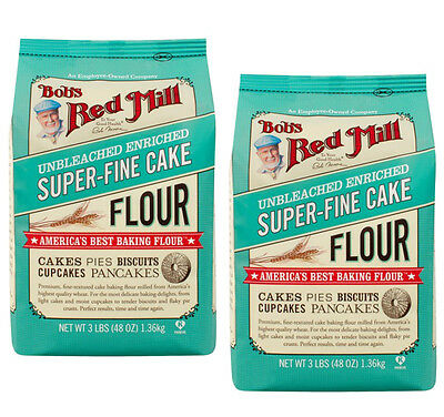 Bob's Red Mill Super Fine White Cake Pastry Flour 3lb Unbleached Baking 2 Pack