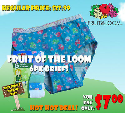 Fruit of the Loom Girls 6pk Briefs