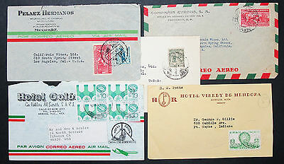 Mexico Postage Set of 5 Covers Letters Envelopes ADV Lupo Mexiko Briefe (H-8389