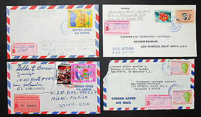 El Salvador Registered Airmail Set of 4 Covers Letters Lupo MiF R-Briefe (H-8392