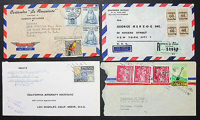 Ecuador Registered Airmail Set of 4 Covers Letters Lupo MiF R-Briefe (H-8394