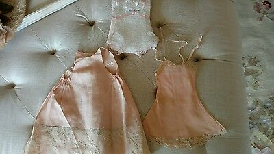 3 ANTIQUE Vtg doll dress net lace pink VICTORIAN STYLE